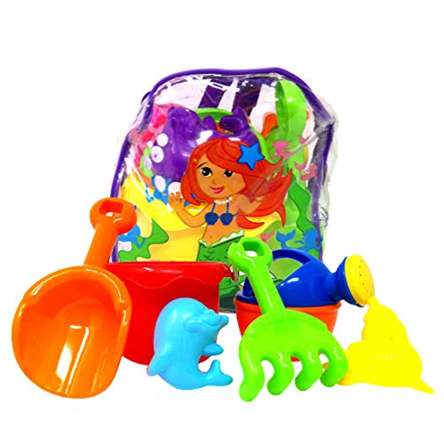 Get A Gadget Mermaid Beach Toys, Assorted Color Clear Mermaid Design Mini Backpacks Filled with 6 Plastic Toys, 8 Inch