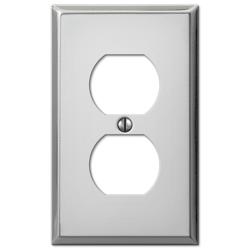 Amerelle 2 Gang Polished Chrome Stamped Steel Duplex Outlet Wall Plate 1 Pk