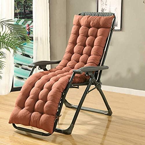 XHNXHN Cojines para tumbonas al aire libre, respaldo alto Cojín para silla, tapicería de silla lisa Asiento de columpio acolchado al aire libre respaldo largo colchón marrón-48x160 cm (19x63 pulgadas)