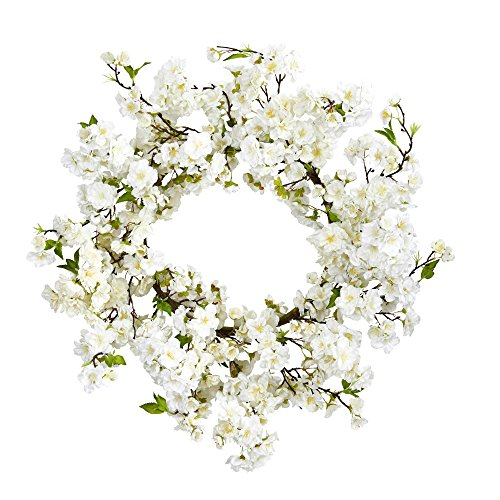 "Nearly Natural 24"" Cherry Blossom Wreath, White"