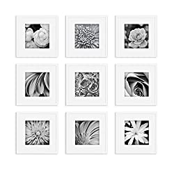 Gallery Perfect Gallery Wall Kit Square Photos with Hanging Template Picture Frame Set, 12 x 12, White, 9 Piece