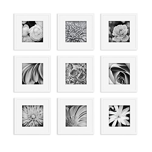 Gallery Perfect Gallery Wall Kit Square Photos with Hanging Template Picture Frame Set, 12' x 12', White, 9 Piece
