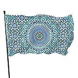 WDDHOME Marokko Nahtlose traditionelle arabische Islami Outdoor Haus Fahnen dekorative lustige Hof Flagge 3 x 5 Fuß lebendige Farben Qualität Polyester und Messing Ösen