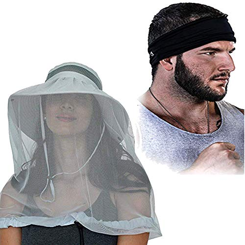 Gear Top Fishing Hat with Mosquito Net & Headband | Light Grey Explorer Fishing Hat & Black Multi-Functional Headband