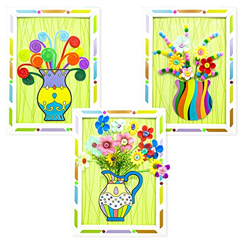 Senbos Kids Art Craft Kits 3D Picture Frame Flower Pressed Kits DIY Handmade Crafts Preschool Art Projects Parent-Child Interactive Educational Toys for Developing Children's Imagination, 3 Pack