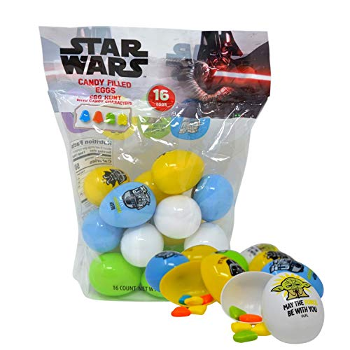 Disney Star Wars Plastic Candy Filled Easter Eggs Basket Stuffer Gifts, 16 Count, 2.68 Ounces