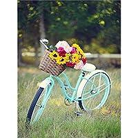 自転車とDIYフラワー5Dダイヤモンド絵画フルスクエアドリル風景ダイヤモンド刺繡モザイク樹脂クロスステッチ家の装飾