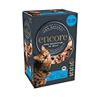 Encore 100% Natural Wet Cat Food, Multipack Fish in Jelly 4 x (5 x 50 g) Pack of 20 Pouches