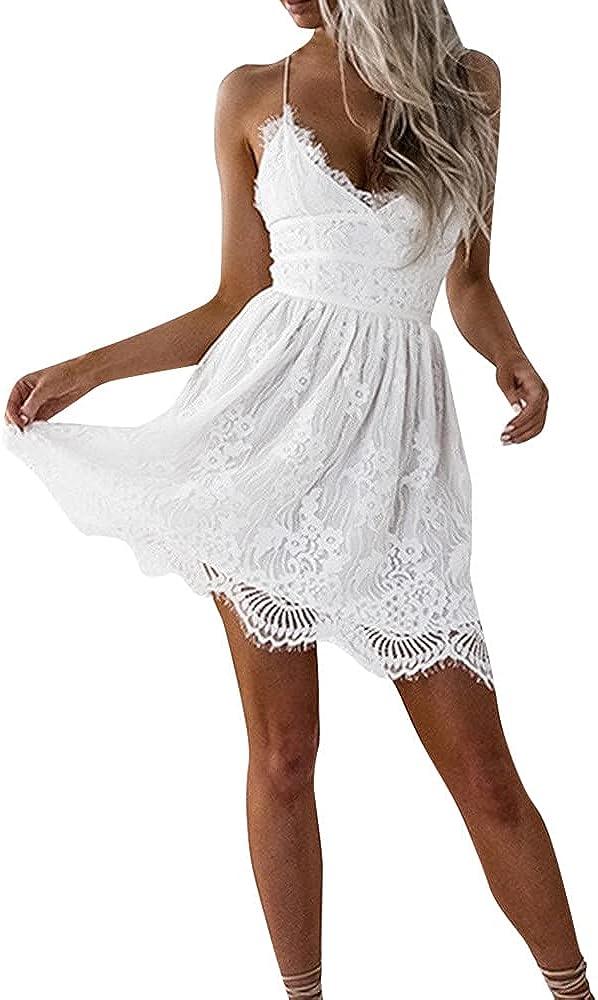 Jovono Women Spaghetti Straps Dress White Summer V-Neck Dress Sl