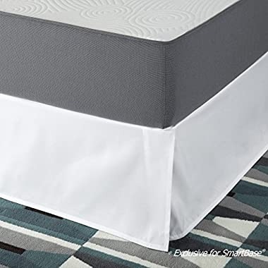 SmartBase Easy On/Easy Off Bed Skirt for 14 Inch SmartBase Mattress Foundation, King, White