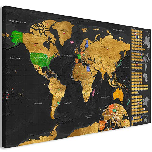 murando Rubbelweltkarte deutsch Pinnwand 90x45 cm schwarz Weltneuheit: Weltkarte zum Rubbeln Laminiert Rubbelkarte mit Fahnen/Nationalflaggen Inkl. 50 Markierfähnchen/Pinnnadeln k-A-0242-o-c