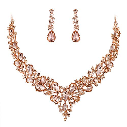 BriLove Wedding Bridal Necklace Earrings Jewelry Set for Women Austrian Crystal Teardrop Cluster Statement Necklace Dangle Earrings Set Peach Morganite Color Rose-Gold-Toned.