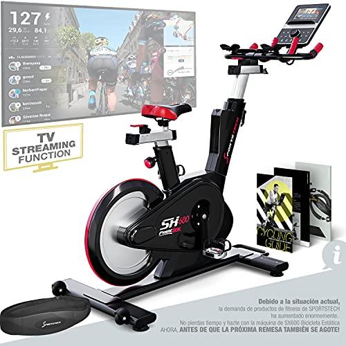 Sportstech Bicicleta de Elite - Marca de Calidad Alemana - Eventos en Directo & App Multijugador, Sistema de Freno magnético controlado por Ordenador, Volante de 26KG, Manillar Deportivo - SX600