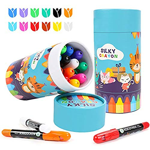 OUTFANDIA Toddler Crayons for Kids ,Non Toxic Silky Colourful Twistable Crayons Set, Easy to Hold 12 Colors Large Crayons ,Safe for Babies and Children Flower Monaco DIY Drawing