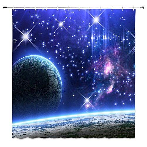 Feierman Blue Galaxy Shower Curtain Decor Starry Sky Beautiful Earth Bathroom Curtain Decor Machine Washablewith Hooks 70x70Inches