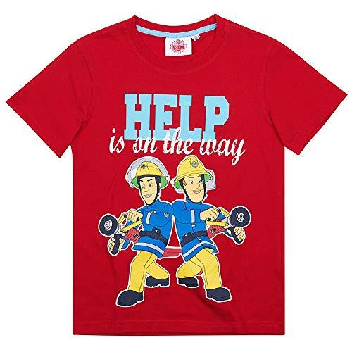 T-Shirt Im Einsatz | Feuerwehrmann Sam | Größe 104-140 | Kinder Jungen Shirt, Größe:104, Farbe:Rot