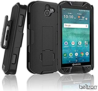 BELTRON Kyocera DuraForce Pro 2 Case with Belt Clip Holster, Heavy Duty Slim Shell Holster Combo w/Built-in Kickstand for Kyocera E6900 E6910 E6920 (AT&T FirstNet Verizon) Duraforce Pro-2 (Black)
