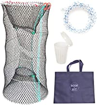 Boom&HIT Portable Folded Bait Crawfish Trap for Lobster Shrimp Crawdad Blue Crab Pinfish Baits Cast Mesh Trap Collapsible Magic Fishing Traps with Accessories All-in-one Set 23.6 X 11.8 inches