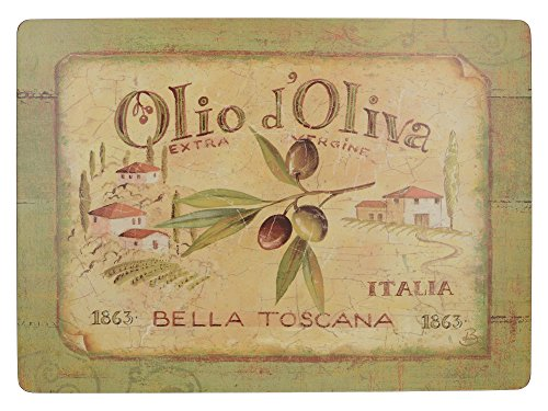 Creative Tops Olio D'Oliva Extra große Premium-Tischsets mit Korkrückseite im 4-teiligen Set, 40 x 29 cm (15¾ x 11½ Zoll)
