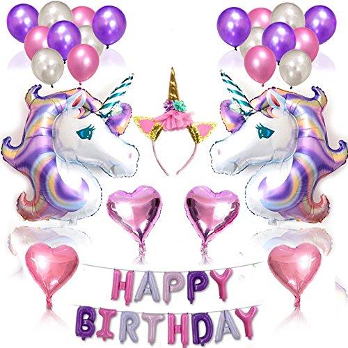 Decorazione Festa di Compleanno, 43 kit in totale Palloncini per Tema di Viola Unicorno, Forniture di Decorazione per Feste Premium Regalo per Compleanno, Matrimoni