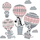 greenluup Wandsticker Wandtattoo Kinderzimmer Mädchen Wand Deko Babyzimmer Heißluftballon Rosa Grau Tiere Wolken Waldtiere Safari Mädchenzimmer Babyzimmer Baby (C2)