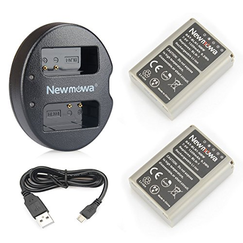 Newmowa Replacement BLN-1 Battery (2-Pack) and Dual USB Charger for Olympus BLN-1, BCN-1 and Olympus OM-D E-M1, OM-D E-M5, Pen E-P5,OM-D E-M5 II