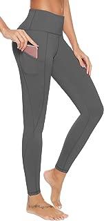 AUU Women's Yoga Leggings Stretch High Waist Side Pockets Workout Sports Running Pants