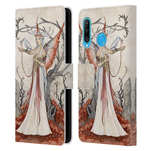 Head Case Designs Licenciado Oficialmente Amy Brown Bruja Blanca Hadas Elementales Carcasa de Cuero Tipo Libro Compatible con Huawei P30 Lite/Nova 4e