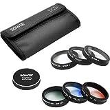 Bower 6 Piece Special Effects Filter Kit & Case for DJI Phantom 3 & 4 Drone Includes: Gradient Gray, Orange & Blue; Star 4, 6 & 8 Plus Lens Cap