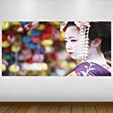 LagunaProject Extra Grande Blanco Chica asiática Japón Cultura Geisha Vinilo...