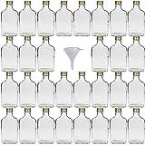 Viva-artículos de Uso doméstico - 30 Botellas de Cristal 200 ml con tapón de Rosca para llenar Incluye Embudo diámetro 7 cm
