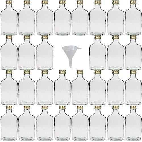Viva Haushaltswaren - 30 x kleine Glasflasche 200 ml mit Schraubverschluss, als Flachmann, Schnapsflasche & Likörflasche geeignet (inkl. Trichter Ø 7 cm)