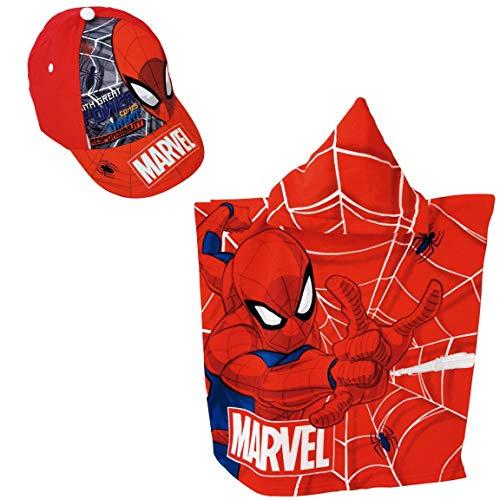 Poncho Spiderman Serviette de plage ou piscine + casquette Spiderman Marvel pour enfants (Rouge)
