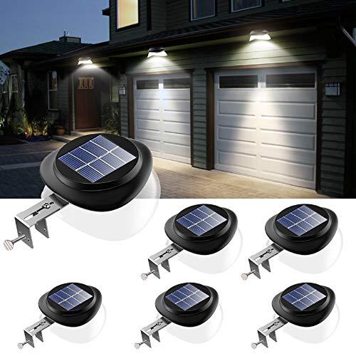 JSOT Solarlampen für Außen, 9 LED Dachrinnen Solarleuchten IP55 Zaunlicht 100LM Wireless Außenwand Dekorationsleuchten für Patio, Gehwege, Hof, Garage, Eave (Weißes Licht, 6 Packungen)