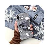 ウォームファーボールニットクリスマスキャップ電話ケースfor iPhone 12 11 Pro MAX 6 7 8 Plus X XS MAXXRラブリー3Dハットバックカバー-1-For for iPhone 11 Pro