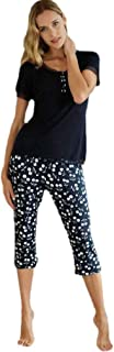 Pijama de Mujer con pantalón Pirata P191231 - Marino, XL