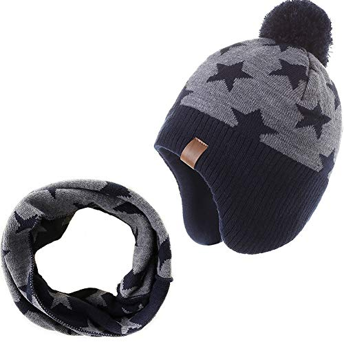 AHAHA Kinder Beanie Strickmütze Wintermütze Kindermütze, grauer Stern -2, Gr.- 6-8 Jahre/ Etikettengröße- 55