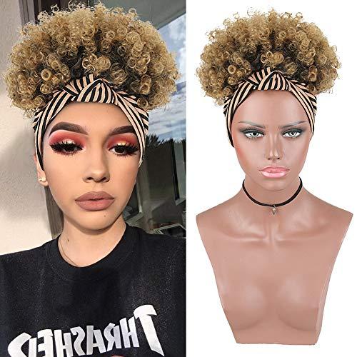 KRSI Wrap Wigs 2 in 1 Short Afro High Puff Hair Bun Ponytail Wigs for Black Women,Faux Hair Bun Wig with Headband Attached Natural Black Hair Extensions Headband wigs for Black Women(1B/27#)