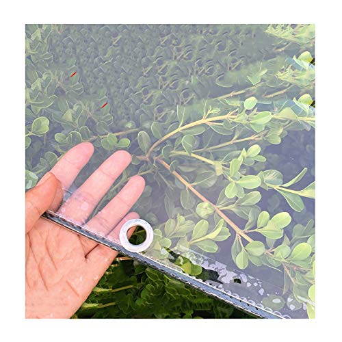 PENGFEI Transparent Tarpaulin Heavy Duty, Waterproof PVC Glass Clear With Eyelets, Flower-plant Leaves Covered Rainproof, 400g / M² (Color : Clear, Size : 2.5x6m)
