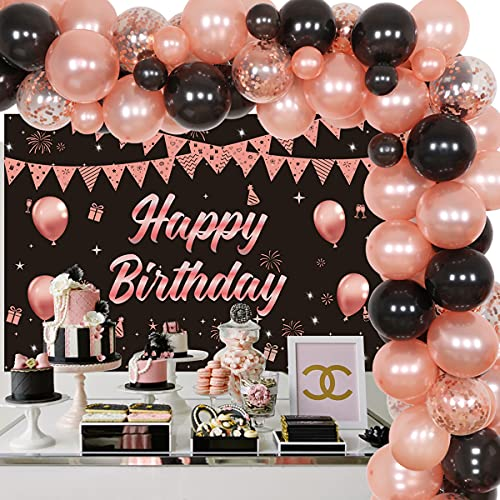 Decoraciones de cumpleaños de oro rosa y negro – Kit de guirnalda de globo negro de oro rosa para mujeres niñas dulces 16/18/30/40/50 cumpleaños suministros para fiesta