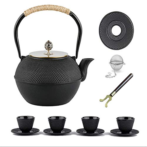 Fireplace Kettles Cast Iron, Tea Kettle Cast Iron,Best Japanese Cast Iron Adorable Tea Pot With Infuser,Used For Bulk Tea And Tea Bags, White Tea, Wood Fruit Tea,black,1.2L