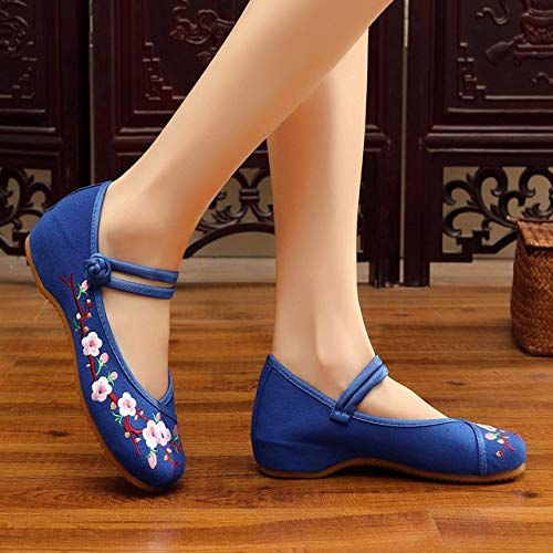 XTR Flower Embroidered Women's Casual Canvas Ballet Flats Ankle Strap Ladies Chinese Cotton Embroidery Shoes Woman Ballerinas-Blue,4