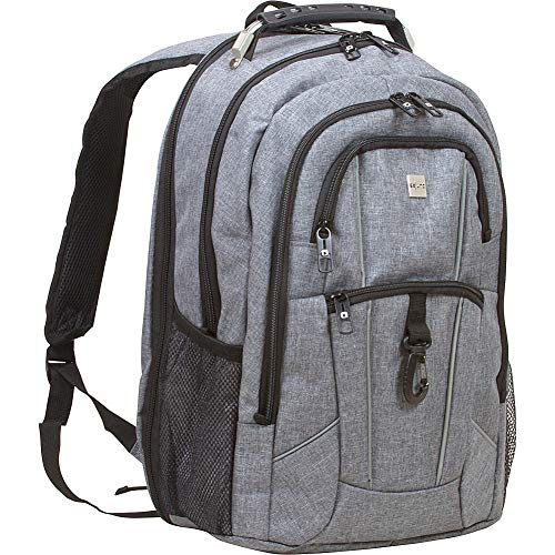Dejuno Commuter Backpack Checkpoint-Friendly 15.6' Laptop Pocket, Heather Grey, Inch