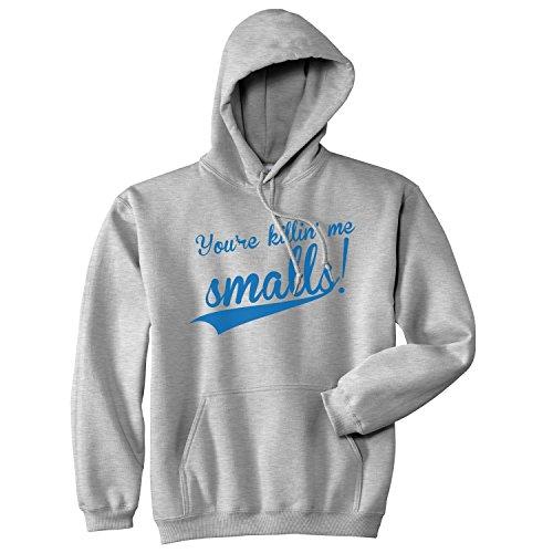 Crazy Dog Tshirts - You're Killing Me Smalls Sweatshirt Funny Baseball Shirts Cool Novelty Humor Hoodie (Heather Grey) - 3XL - Homme