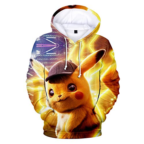 IFITBELT Anime Detektiv Pikachu Cosplay Kapuzenpullover Hoodie Pullover Herren und Damen XXS-3XL, 3D Druck Jungen Mädchen Sweatshirts Tops 110-150