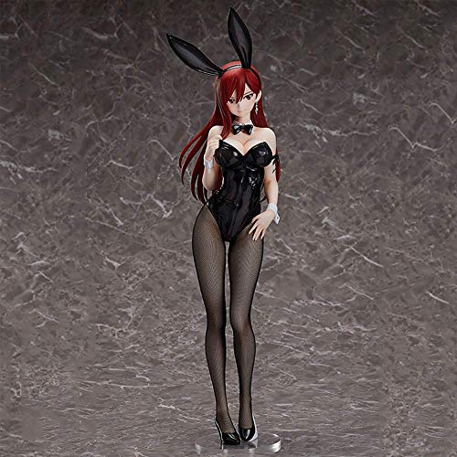 Fairy Tail Actionfigur, 19 Zoll Erza Scarlet Figur, Bunny Girl Version, 1/4 Maßstab Stehendes Anime-Modell, PVC Material Girl Doll für Ornamente Geschenksammlung Dekoration
