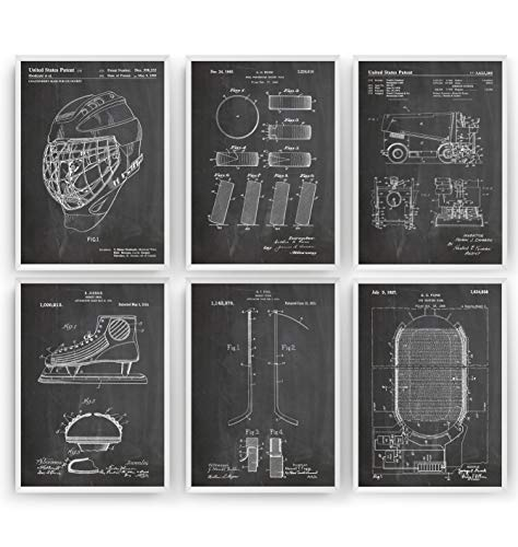 Ice Hockey Set Of 6 Patent Posters - Giclee Print Art Kunst Wall Dekor Decor Entwurf Wandkunst Blueprint Geschenk Gift - Frame Not Included