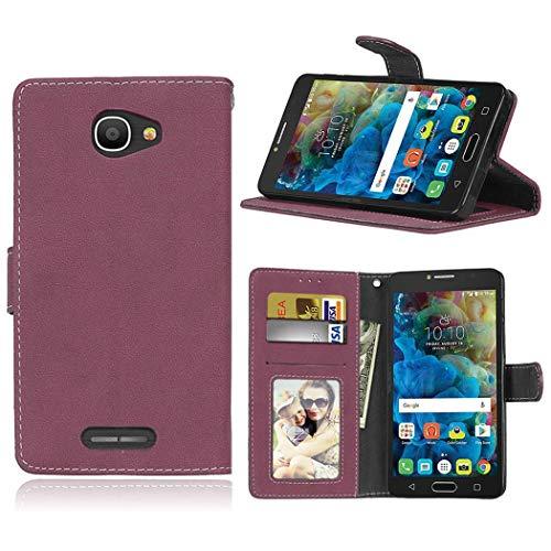 Ycloud Geldbörse Hülle für Alcatel One Touch Pop 4s (5.5'') Smartphone, Matt Textur PU Leder Magnetisch Flip Handyhülle mit Standfunktion Kartenfächer Entwurf (Rosenrot)