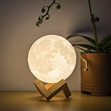 BRIGHTWORLD Moon Lamp, 3D Printing Lunar Lamp Night Light as Kids Women Girls Gift, USB Charging and Touch Control Brightn...