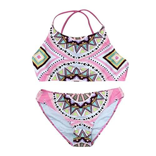 OVERDOSE Damen Push-up gepolsterter BH Badeanzug Bade Frauen Bikini Sets Bademode(Pink,S